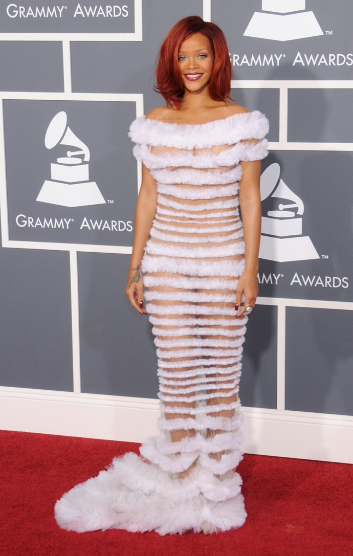 MISS: Breaking out another Jean Paul Gaultier number at the GRAMMY Awards, her hair and make-up is perfection but the dress itself looks a lot like something one of our staffers knocked up out of toilet paper at a *Cosmo* bridal shower.