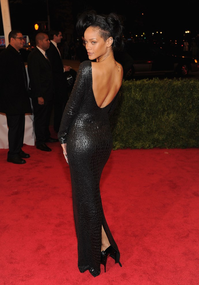 HIT: The Bad Gal brought the va-va-voom to 2012's Metropolitan Museum of Art Costume Institute Gala, in a low-back, embossed leather gown from Tom Ford.