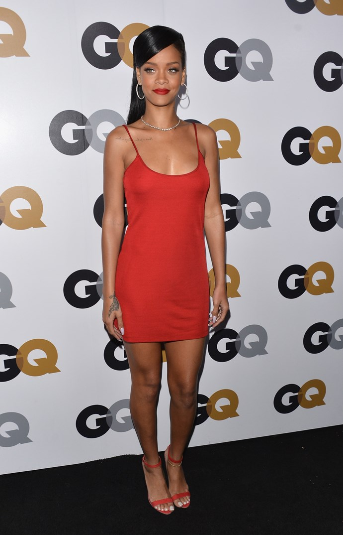 "HIT: ""Rihanna! What are you wearing?"" ""A dress"" ""Says who?!"" ""Calvin Klein."" It was Cher Horowitz, of iconic '90s film *Clueless*, who uttered the words, but it was RiRi who repeated the sentiment at the *GQ* Men of the Year Party. #asif"