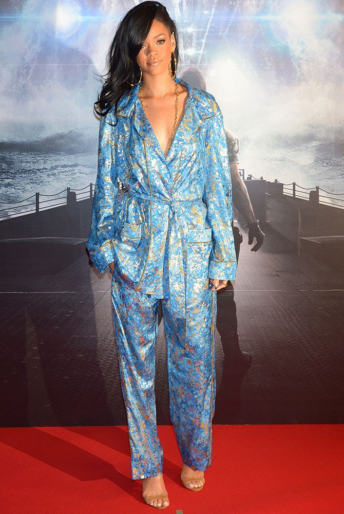 HIT: Rihanna has a penchant for pyjama dressing - there's no doubt about it. For a trend that can fall flat so frequently, this shimmery blue number (worn at the *Battleship* Japan Premiere) hits all the right notes.