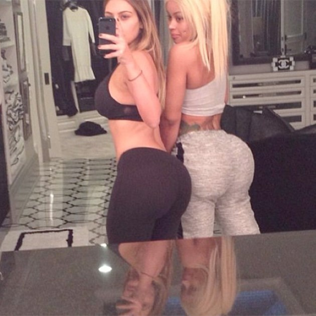 **Blac Chyna:** Kim's current BFF, former stripper and false-lash entreprenuer Blac Chyna, spent quality time with Kim at the gym before sharing the bathroom mirror for a double 'belfie'. As best friends often do...