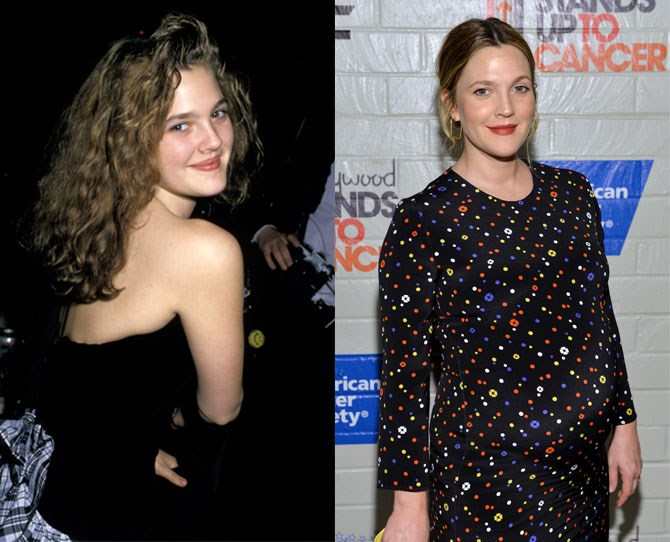 **Drew Barrymore:** Child star Drew entered rehab at 13 after skyrocketing to fame post-*E.T.* Although she came from a showbiz family, the pressures of fame had her resorting to cigarettes from age nine, alcohol by 11, marijuana at 12 and cocaine at 13. She bounced back in the early '90s, carved out a niche for herself in quirky rom-coms and is going to give birth to her second child any minute now.