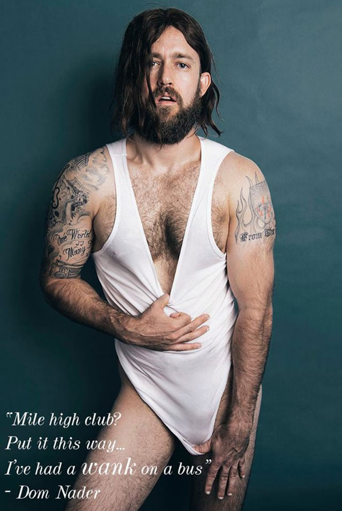 The two Bondi Hipsters are Dom and Adrian Archer (both fictional), with Dom putting his hand up to strip down and Adrian behind the lens.