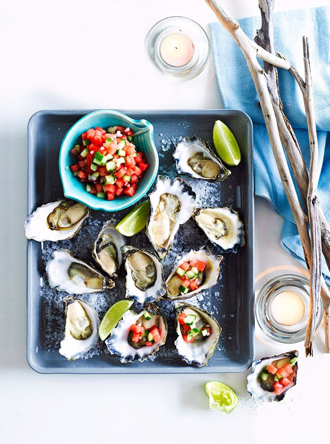 **Oysters:** Oysters are one of the best-known aphrodisiacs out there. Why? They're brimming with zinc, to raises sperm and testosterone production and his libido, and high in omega-3, to promote general well-being.