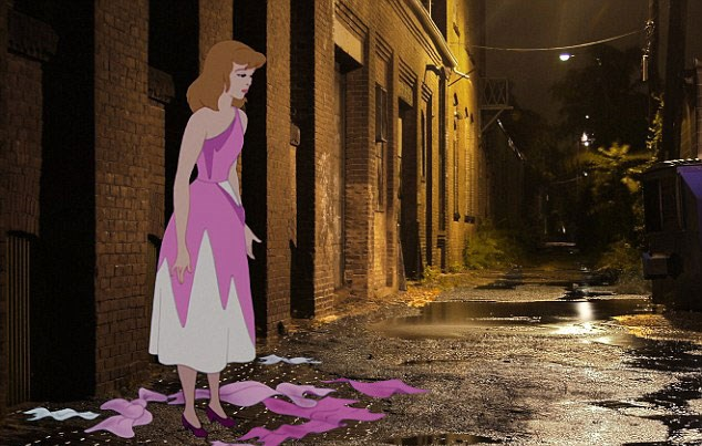 Cinderella's pretty pink dress appears to have been ripped to shreds as she stands alone in a dark alleyway. WTF is Prince Charming doing when you need him?!