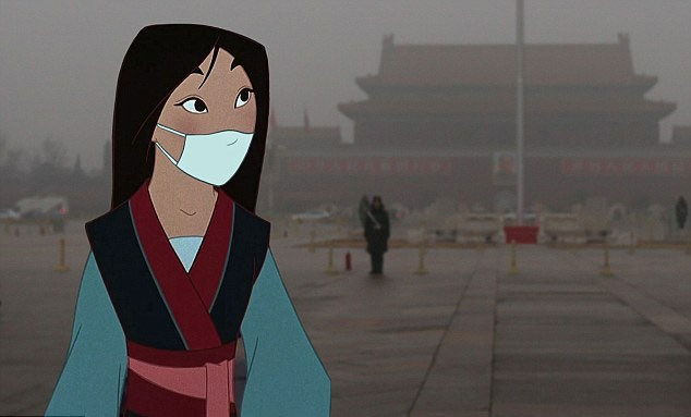 No, Mulan is not just a paranoid tourist in Sydney. She's actually facing the fiercely over-polluted atmosphere of her native China.