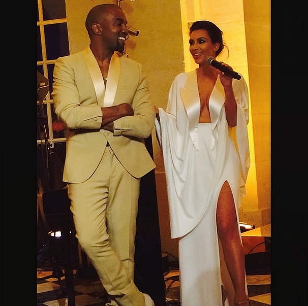 Posted by: Giancarlo Giammetti Valentino's partner posted plenty of sweet snaps too like this one of Kim making a speech, Kanye smiling at her side. Too cute.