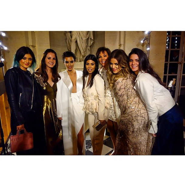 Posted by: Giancarlo Giammetti The ladies of the Kardashian-Jenner clan with Lana Del Ray, who sang three tracks (including Kim's favourite 'Young and Beautiful') at the rehearsal dinner.