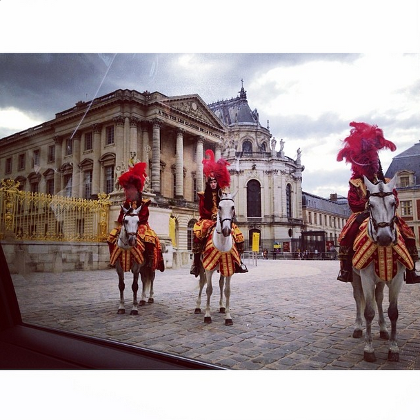 Posted by: Ibn Jasper Kanye's barber of 19 years took a photo of the view as his car entered the Palace of Versailles' grounds.