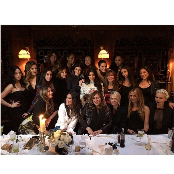 Posted by: Kim Kardashian West Can you imagine what the bill came to?! Kim and her girlfriends celebrate one of her last nights as a single lady.