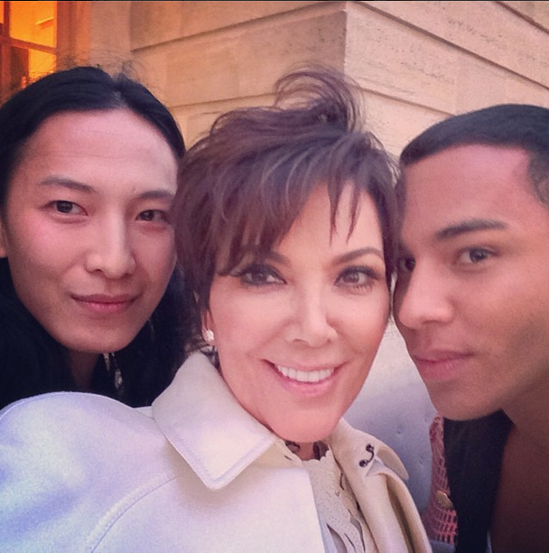 Posted by: Kris Jenner Kris is set to have the best wardrobe of any grandmother in LA... rubbing shoulders with Valentino over lunch, and Balmain's Olivier Rousteing and Alexander Wang here at the rehearsal dinner.