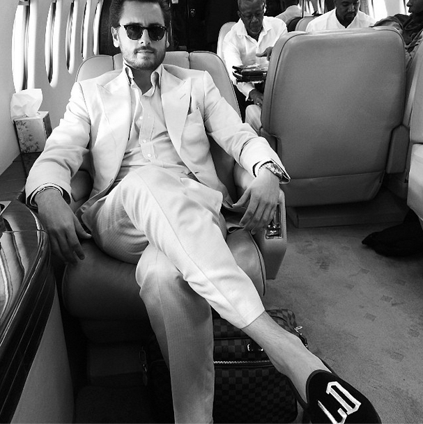 Posted by: Scott Disick Kourtney's partner enjoys the finer things in life, like travelling by private jet to Florence, and having Kanye West in the background of his Insta pics.