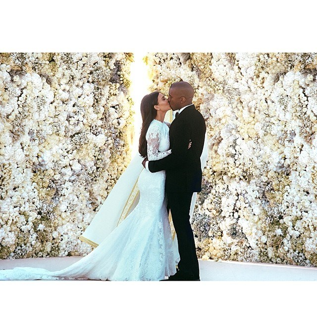 """Despite Kanye's love of 'keeping things private', Kim Kardashian just couldn't resist posting a couple of snaps of her STUNNING Givenchy wedding gown on social media in way more detail than [we've seen so far](http://www.cosmopolitan.com.au/bride/news/2014/5/first-look-kim-kardashians-wedding-dress/