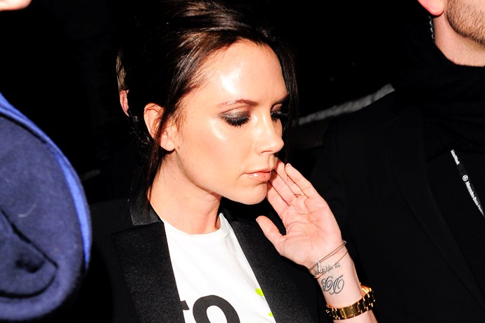 """She's not afraid to permanently ink reminders of her family on her body – most of Victoria Beckham's tattoos are about her husband or children. On one wrist, she has husband David's initials, and for their tenth wedding anniversary she has """"Together, forever, eternally"""" inked in Hebrew below them."""
