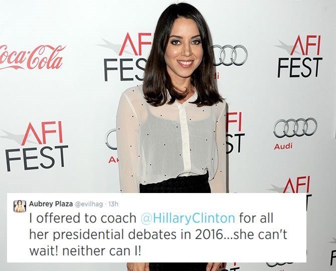 **Aubrey Plaza:**The*Parks and Recreation*star, and Queen of RBF, puts a fun spin on politics (and is BFFs with Anna Kendrick).