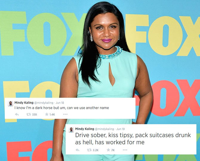 **Mindy Kaling:**Comedian and star of our fave show,*The Mindy Project*, Mindy brings serious sass to every post.