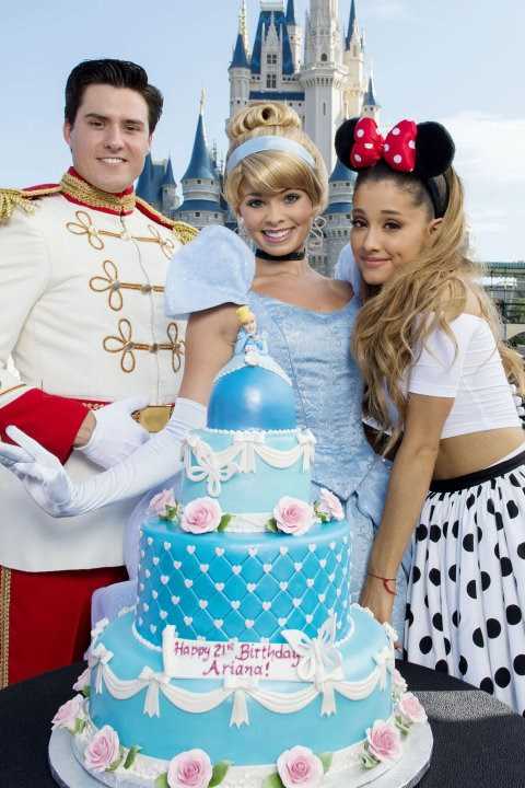 Here's her ponytail accessorising with Minnie Mouse ears. Ariana celebrated her 21st birthday at Disneyland, with Cinderella, Prince Charming and the most perfect-looking cake ever.