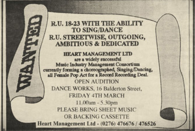 In February, 1994 *The Stage* trade magazine advertised for young, talented ladies to attend auditions for a girl group. At the time, the pop music landscape was dominated by boy bands like Take That and East 17.
