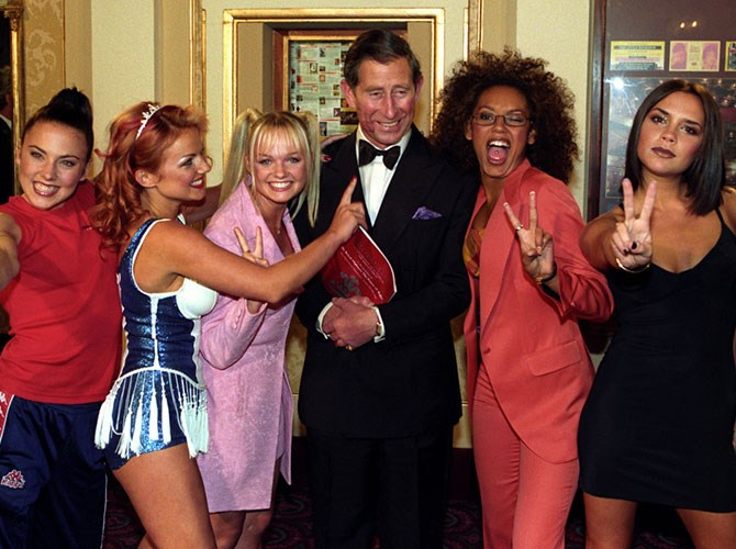 Their first live British show, for the Royalty of Great Britain, happened in late '96 too. Mel B and then Geri Halliwell planted kisses on Prince Charles' cheeks and pinched his bottom, breaking Royal protocol and causing a stir of controversy (although Charles always did have a soft spot for Geri after that…).