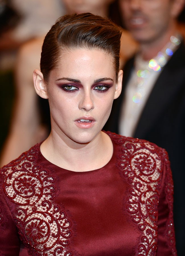 Kristen matched her eye makeup to her outfit at last year's Met Gala ball, opting for a deep crimson shadow. The slicked back quiff also nailed the punk rock theme.