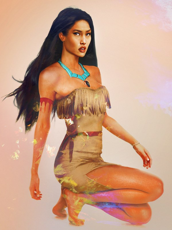 Pocahontas, rocking fringed detailing like it's pre-fall 2014. (Or 1615).