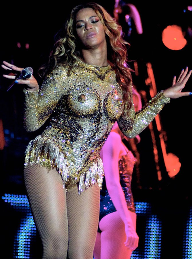 That time she pretty much flashed her nipples during The Mrs Carter World Tour, in this risqué number by The Blonds.