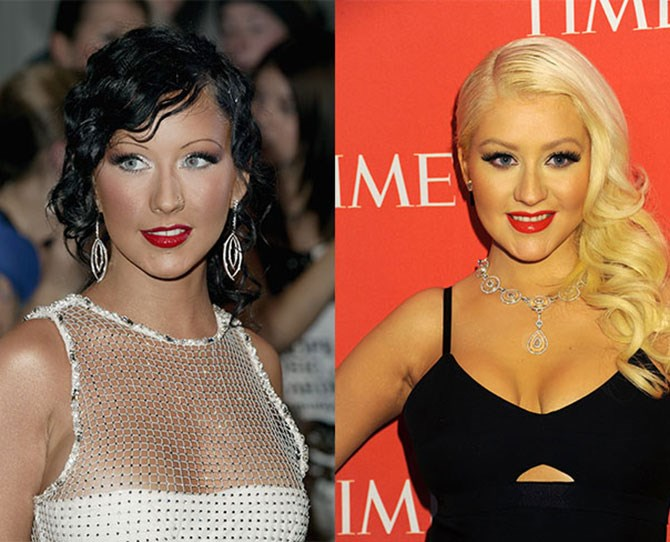 Christina Aguilera's eyebrows were virtually unrecognisable as actual eyebrows back in 2003. She should be paying extra for that remodelling!