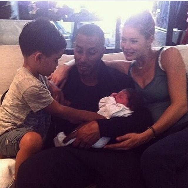 "Victoria's Secret favourite, Doutzen Kroes gave birth to her second child on Wednesday (July 30), and shared this adorable family snap to celebrate. Her and husband Sunnery James named their new little girl Myllena Mae, and don't they all just look perfect? ""A miracle saw the light of day this morning. Welcome Myllena Mae,"" she captioned the pic. ""Mommy, Daddy and brother Phyllon are super proud!"""