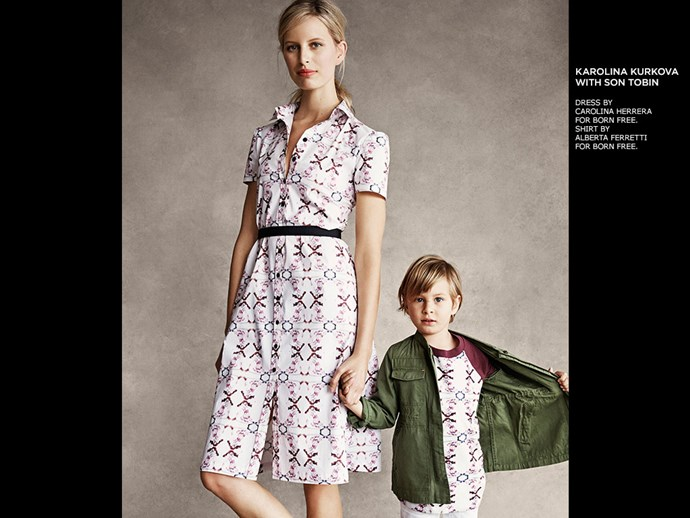 It seems models' kids are often just as in demand in the industry. Case in point: Victoria's Secret veteran, Karlina Kurkova also starred with son Tobin in Shopbop's Born Free campaign - in matching Carolina Herrera outfits.