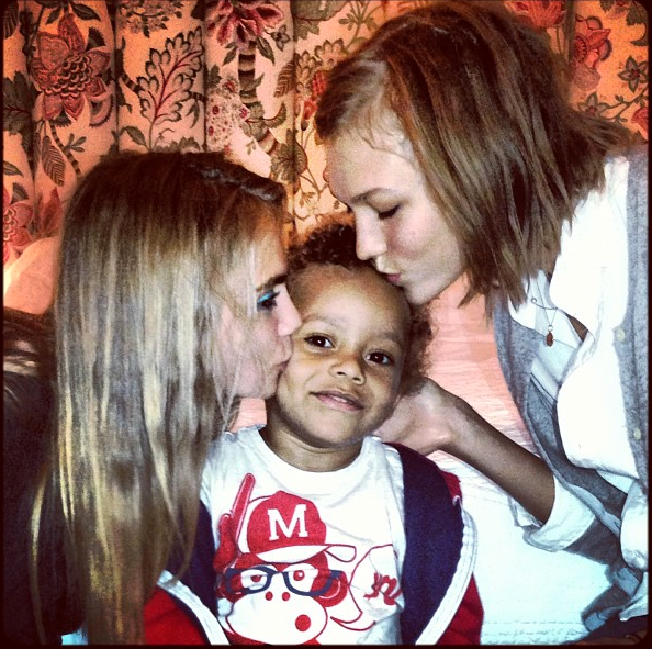 Jourdan Dunn's son Riley is only three, but he's already big with the ladies, namely mummy's BFFs, Cara Delevingne and Karlie Kloss.