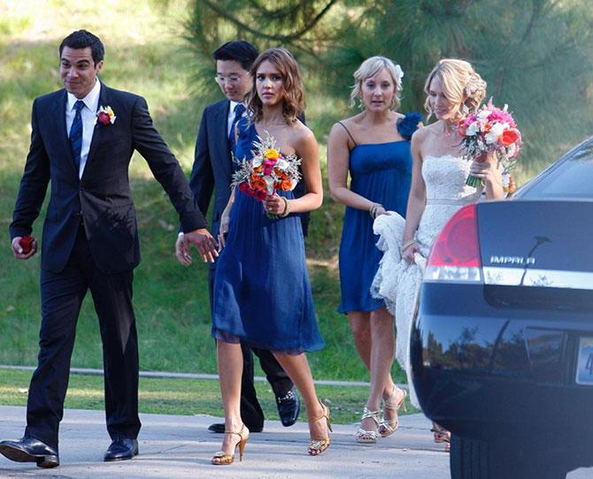 **Jessica Alba** <br><br> Jessica Alba was a vision in a royal blue one-shoulder number, while playing bridesmaid with husband, Cash Warren, by her side as best man. The pair were a supportive couple at Amir Khastoo and Jacqui Lang's wedding.
