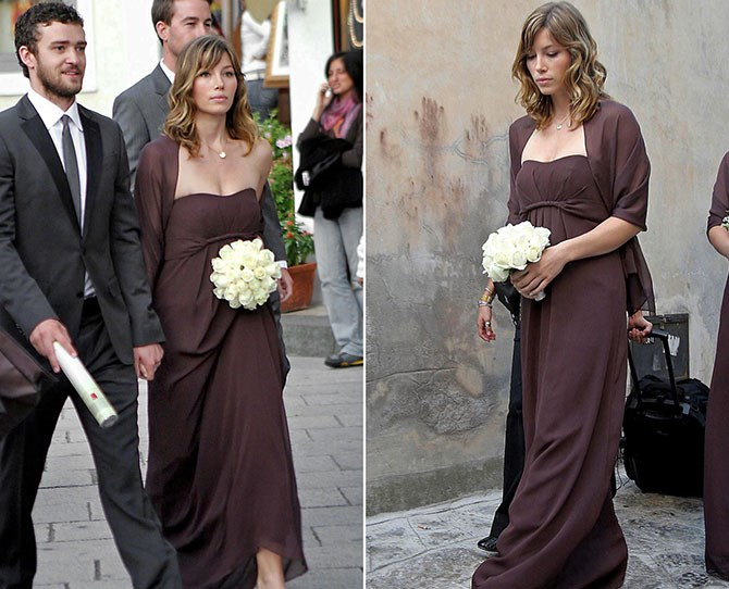 Chocolate brown can be a hard colour to wear at the best of times, but Jessica Biel looks super sweet in this strapless number at Beverly Mitchell's big day. Maybe it gave JT a gentle nuptial nudge?.