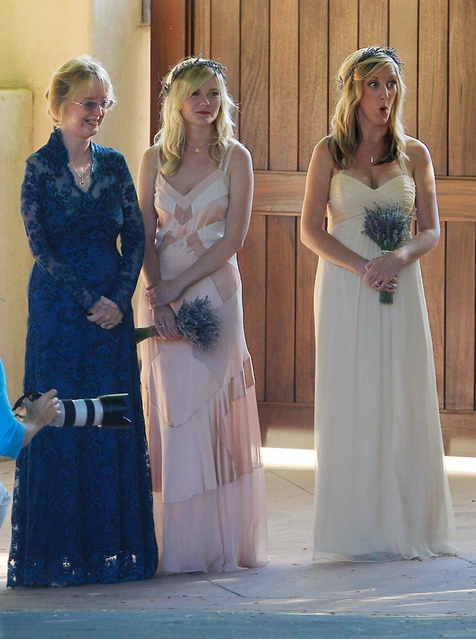 Kirsten Dunst took a backseat to leading lady and childhood friend Molly for her wedding day back in 2012. Dunst did manage to stand out though in a pink and cream floor skimmer. It's safe to say she didn't draw the short straw for dresses.
