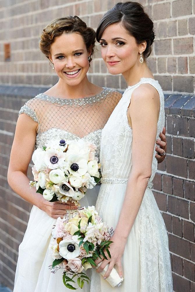 **Rose Byrne** <br><br> When Rose Byrne signed up for *Bridesmaids*, who would've thought it would be a rehearsal for her best friend Krew Boylan's wedding? Only this time, she's playing more of a helping hand in her Collette Dinnigan get-up.