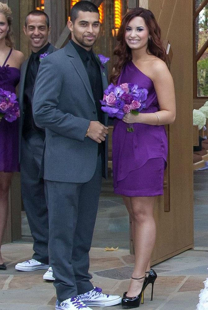 **Demi Lovato** <br><br> Demi Lovato looked stunning in purple, at the wedding of close friend, Tiffany Thornton, alongside now ex-beau Wilmer Valderrama.