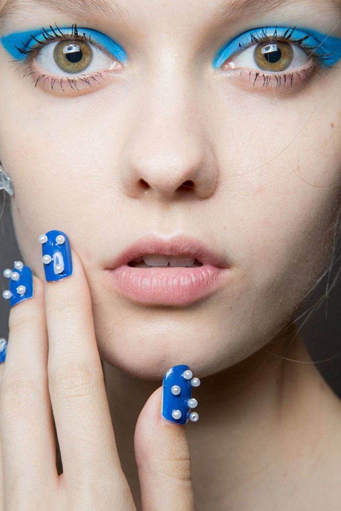 The pearl-coated cobalt blue mani at Honor.