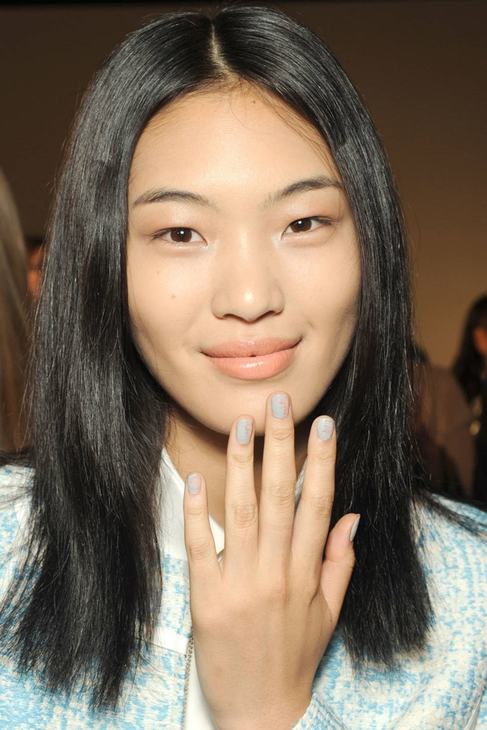 The misty pastel blue mani at ICB.