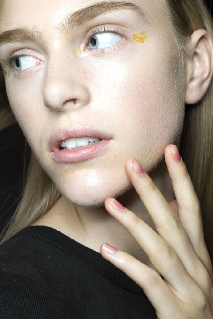The pink lucite nail at Monique Lhuillier.