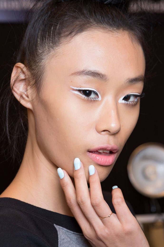 A baby blue to white faded French at Nanette Lepore.