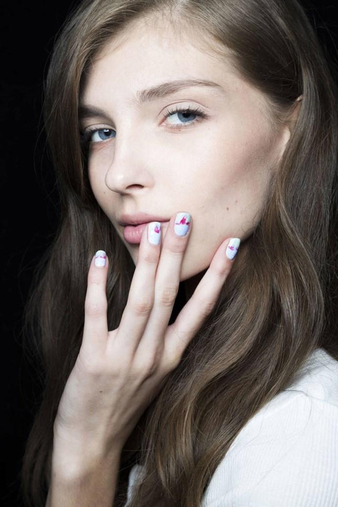 The watercolor nails at Rebecca Minkoff.