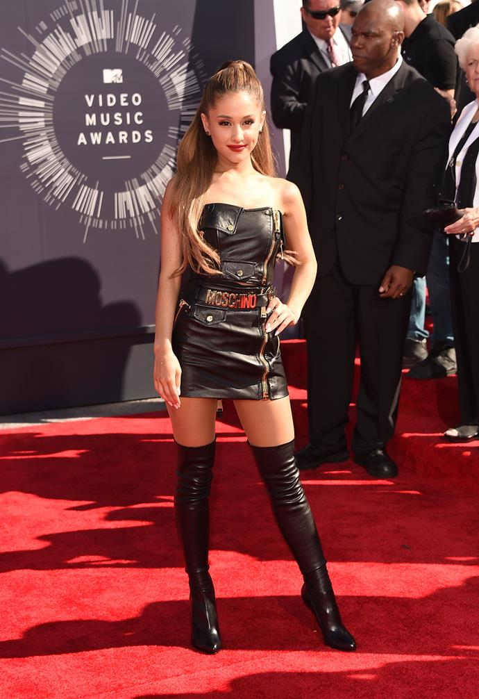 **August 2014**<br><br>  At the 2014 VMAs, she well and truly dumped her good girl Nickelodeon image by stepping out in a strapless leather mini dress with thigh-high boots.
