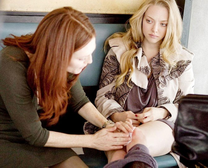 """It was so ... awkward. And you can never destroy that awkwardness; it's always going to be there — even when you're with somebody for the first time in real life. It's just strange"" — [**Amanda Seyfried**](http://www.accesshollywood.com/amanda-seyfried-and-julianne-moore-on-their-racy-sex-scene-in-chloe_video_1209738), on *Chloe.*"