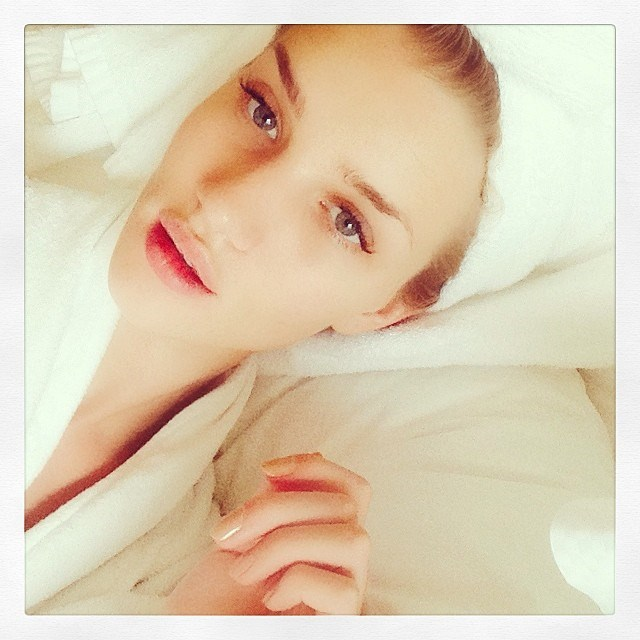 """7. When anyone questions your dorky hair towel wrap your comeback is now sorted. """"Even Rosie Huntington-Whitely does it!"""""""