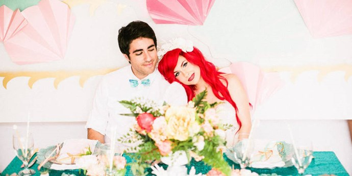 This *Little Mermaid*-inspired wedding photo shoot is what all our Disney dreams are made of. It's a nifty collab between [Your Cloud Parade](http://api.viglink.com/api/click?format=go&jsonp=vglnk_141436389573510&key=700bcd0a98e28ae63ea54516aea9535c&libId=56441f04-c362-4e71-8d79-e52555adc0ad&loc=http%3A%2F%2Fwww.cosmopolitan.com%2Flifestyle%2Fnews%2Fa32500%2Fthis-little-mermaid-fantasy-wedding-is-like-whoa%2F%3Fclick%3D_lpTrnsprtr_1&v=1&out=http%3A%2F%2Fyourcloudparade.com%2F&title=This%20Little%20Mermaid%20Fantasy%20Wedding%20Is%20Like%20Whoa&txt=Your%20Cloud%20Parade) (an online wedding marketplace) and [Traci Hines](https://www.youtube.com/user/TraciJHines) (singer/designer/Ariel) and it wins EVERYTHING.