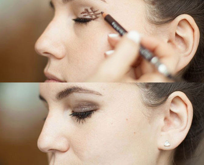 5. Draw a slanted hashtag at the outer corner of your eye, and then blend it for an instantly smokey effect. To create a super-easy smokey eye, draw a hashtag symbol right before the outer corner of your eye and then blend it out with the smudger at the other end of your eye liner.**** ****