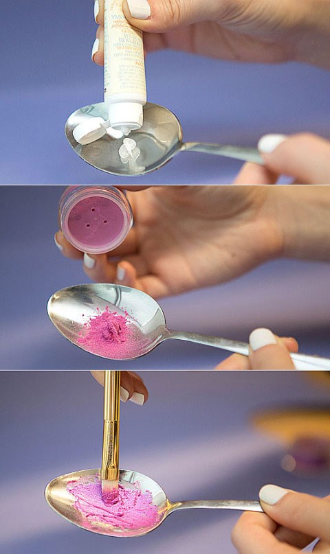 12. Mix loose pigments with a salve or petroleum jelly to make your own custom lip gloss. If you have loose eyeshadow pigments that you're obsessed with and want to wear as a lip shade, blend it with a little bit of a salve, like [VMV Hypoallergenics Boo-Boo Balm](http://www.vmvhypoallergenics.com/grandma-minnies-boo-boo-balm.html), or petroleum jelly in a spoon and swipe it onto your lips. Voil!