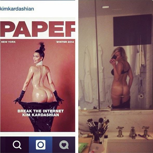 """She also called Kim K's butt out for being 'fake' captioning this pic with """"Can you believe more than 2 ass can fit on the same screen? Guess which one's real. Your move, instagram"""""""