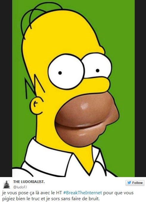 This person took the donut comparison one step further, putting Kim K's sideways ass into Homer's mouth.