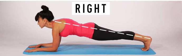 **Right:** Engage your quads to help support your hips. Focus on keeping your body in a straight line between the top of your head to your heels. **Right:** Relax your neck and try to maximize the distance between your ears and your shoulders as you lengthen up through the spine.