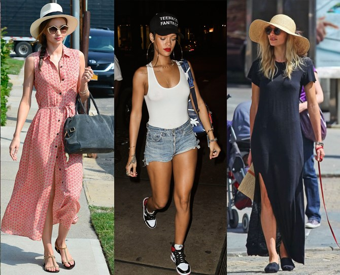 **Hats are your new best friend **They have SO many summer-friendly uses. Like keeping your face cool, covering up your sweaty hair and, of course, looking awesome with any warm weather outfit. If RiRi's your style spirit animal, try a trucker hat. Or you could make like Miranda with a Fedora, or Jess Hart's big, floppy number. The possibilities really are endless.